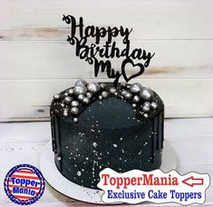 Exclusive model toppers Happy Birthday, Gold Happy Bday on cake, Happy birthday toppers Gothic Birthday Cakes, 27th Birthday Cake, Birthday Cake For Husband, Elegant Birthday Cakes, Happy Birthday My Love, Beautiful Birthday Cakes, Happy Birthday Cake Topper, Birthday Cakes For Men, Birthday Cake Decorating
