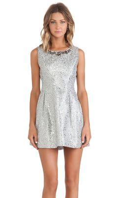 JOA Embellished Dress in Silver