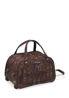 London Fog Brown Paisley Soho Hyperlight International Wheeled Club Bag