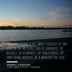 """""""You will learn a lot about yourself if you stretch in the direction of goodness, of bigness, of kindness, of forgiveness, of emotional bravery. Be a warrior for love.""""  - Cheryl Strayed, """"Tiny Beautiful Things: Advice on Love and Life from Dear Sugar"""""""