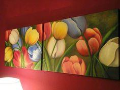Cuadro de Tulipanes realizado con Oleo de 1,20 mts.