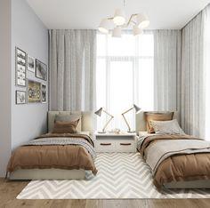 Interior 13 on Behance Teen Bedroom Designs, Room Design Bedroom, Room Ideas Bedroom, Home Room Design, Small Room Bedroom, Home Decor Bedroom, Twin Girl Bedrooms, Luxurious Bedrooms, Behance