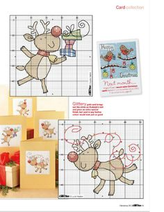 Reindeer Christmas cards part 2 free cross stitch patterns