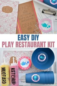 Make a play restaurant kit for your little ones and customize it quickly and easily with your Cricut! #ad
