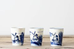 Blue Windmill China Cups, Set of 3
