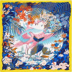 "Flamingo Party Hermes silk twill scarf, hand rolled, 36"" x 36""  Color : bright yellow/blue/white   Designed by Laurence Bourthoumieux Ref. : H002898S 28"