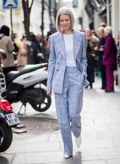 sarah harris wearing a lavender plaid suit