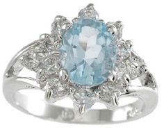 2.0ct 925 Sterling Silver Oval Topaz Ring CZ FD-0363