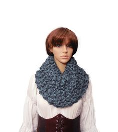 Oversized Infinity Cowl Knit Blue Gray Infinity Scarf Cowl Fashion Statement, Hooded Cowl Scarf, Super Bulky Snood Neck Warmer Chunky Infinity Scarves, Hooded Cowl, Blue Grey, Gray, Cowl Scarf, Slouchy Beanie, Neck Warmer, Wool Blend, Winter Outfits
