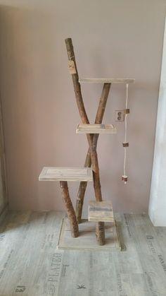 Natural, wooden, cat climbing tree