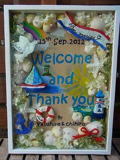 ウェルカムボード(マリン) Welcome Boards, How To Preserve Flowers, Flower Designs, Diy Wedding, Wreaths, Party, Naver, Home Decor, Creema