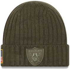 Men s Oakland Raiders New Era Olive 2017 Salute To Service Cuffed Knit Hat 69efe102a
