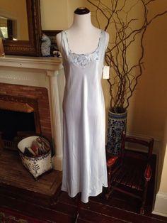 NWT Natori Long Sleepwear Blue Nightgown Sz Womens Small Full Length Sleeveless #Natori #Gowns #newwithtags #weddingnight #nightdown