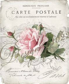 vintage rose carte postale digital collage p1022