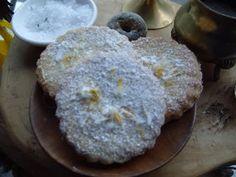 Dandelion Biscuits  4oz butter  2oz caster sugar  6oz plain flour  2-3 tbsp dandelion petals  dandelion tea infusion  icing sugar and a few petals to decorate