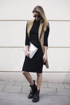 Street Style Fashion Beige Black dress Dior sunglasses Silver clutch Kenzo