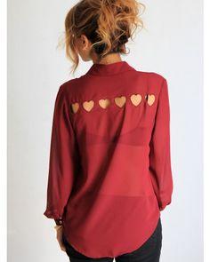 red heart cut out shirt