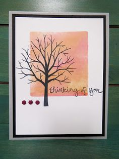 Thinking of you card stamped with Sheltering Tree stamp set, watercolor background, acrylic block stamping technique