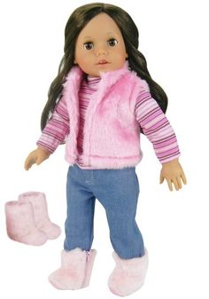 Fit For 18/'/' American Girl Set Striped T-shirt With Bow Pink Pants Doll Clothes
