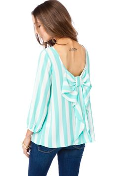 ShopSosie Style : Coletta Bow Blouse in Striped Mint