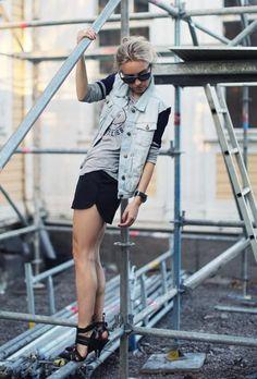 STYLESTALKER shirtIRO waistcoatGINA TRICOT shortsALEXANDER WANG shoesRAN-BAN sunglassesSKYWATCH watch(image:5inchandup)