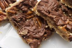 Caramel and Chocolate Pecan Bars - there's the sweet, buttery crust and pecans. Everything about making these bars is simple, including the caramel layer. No candy thermometer necessary! How amazing is it that two simple ingredients like butter and sugar can turn into caramel in a matter of minutes? Plus, there's chocolate on top of all of this.