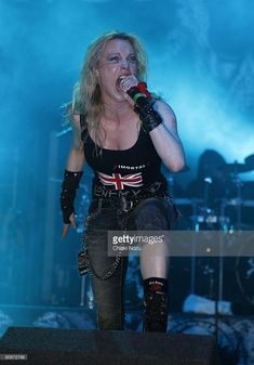 Musician Angela Gossow of Arch Enemy performs in concert at Brixton Academy on April 26, 2008 in London, England.