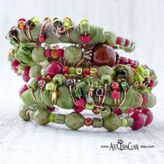 Olive Green Sari Silk Memory Wire Cuff Bracelet Avocado Wrap