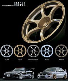 I want a set in gold! Pinned by MostlyPractical.com. Advan RG II Wheel 15x6.5 4x100