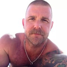 Cigar mustache Muscle Daddy   Hairy Muscle Daddy. Scruff. Going Grey. Men. Ink. Woof!