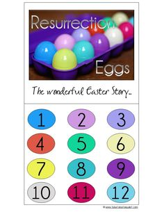Resurrection Eggs (with free printable and links to other resources for Resurrection Eggs) at 1+1+1=1