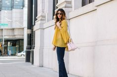 Yellow Bell Sleeve Top …
