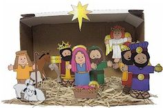 Printable Nativity Scene (uses empty toilet paper rolls to stand up)