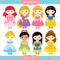 Disney Princess Clipart by soarsense on Etsy, $5.00