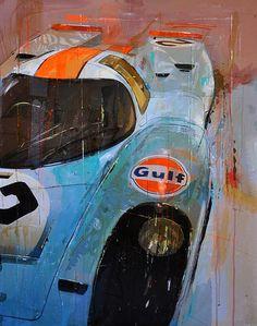 Porsche 908 by Markus Haub Auto Illustration, Garage Art, Car Posters, Vintage Race Car, Car Drawings, Automotive Art, Car Painting, Retro, Art Cars