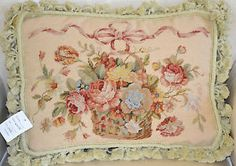 """14"""" x 18"""" French-Country-Style-Handmade-Petite-Point-Needlepoint-Pillow"""