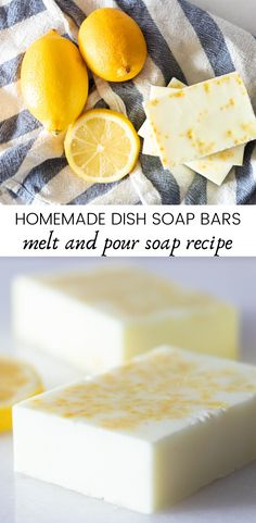 Homemade dish soap bars are made with simple ingredients and can effectively cut grease and grime. An all-natural dish soap bar makes dish washing easier and more effective. Homemade soap bars don't require any special equipment and can be made with only 2-ingredients. #dishsoap #diydishsoap #meltandpour #lemon #lemonessentialoil #dishsoapbar #homemadesoap