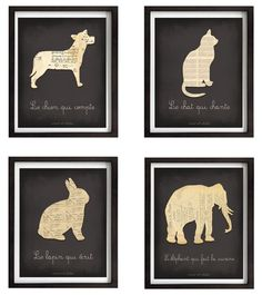 """Love these French animal prints: """"the rabbit who writes"""" is made of old postcards, and """"the cat who sings"""" is actually sheet music."""