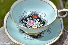 Paragon Robin's Egg Blue Teacup and Saucer With Hand Painted Floral Center, ca. 1952-1960