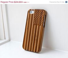 Black Friday Sale Custom Bamboo Real Wood case engraved American Flag - Phone4/4s iPhone 5/5s iPhone 5c  Samsung Galaxy S4