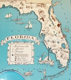 Vintage Animated FLORIDA State Map of Florida Cartoon Map Print Gallery Wall Art Office Decor Gift for Birthday Wedding Anniversary by OnTheWallPrints on Etsy Vintage Florida, Old Florida, Florida Home, Florida Usa, Vintage Maps, Vintage Travel, Vintage Posters, Antique Maps, American History