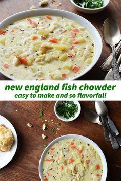Cod Chowder Recipe, Fish Chowder Recipe New England, Best Seafood Chowder Recipe, Chowder Soup, Chowder Recipes, Soup Recipes, Fish Dishes, Seafood Dishes, Soups