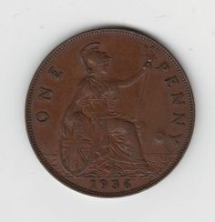 1936 Penny reverse showing Britannia, modeled on the appearance of the lovely Francis Stuart, Duchess of Richmond, a beauty of the court of Charles II.