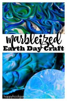 Marbleized Earth Day Craft with Shaving Cream and Liquid Watercolours - a great sensory art process for preschoolers and elementary kids - Happy Hooligans Earth Day Activities, Spring Activities, Fun Activities For Kids, Art Activities, Earth Day Projects, Projects For Kids, Crafts For Kids, Art Projects, Earth Craft