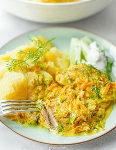 Kurczak w sosie koperkowym Snack Recipes, Cooking Recipes, Healthy Recipes, Healthy Food, Snacks Für Party, Polish Recipes, Recipe For Mom, Feta, Chicken Recipes