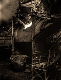 """""""Loading a copper converter at the Garfield smelter of the American Smelting and Refining Company."""" Medium format nitrate negative by Andreas Feininger for the Office of War Information. Vintage Photographs, Vintage Photos, Abandoned Factory, Black White Photos, High Resolution Photos, Buy Prints, Photo Archive, Hd Images, Old Photos"""