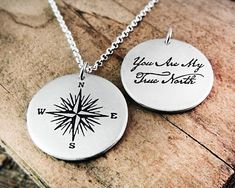 Sterling silver compass necklace with quote, You are my truth north, for women and men, Valentines g