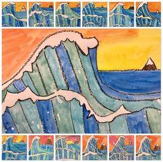 """grade hokusai """"the great wave kindergarten art lessons, art lessons elementary, art Art Lessons For Kids, Art Lessons Elementary, 4th Grade Art, 3rd Grade Art Lesson, Hokusai, Wave Art, Wayne Thiebaud, Art Japonais, Kindergarten Art"""