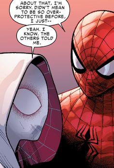 Spider-man and Spider-Gwen Spider Gwen Venom, Spiderman And Spider Gwen, Spiderman Art, Amazing Spiderman, Marvel Memes, Marvel Comics, Marvel Art, Jurassic World, Gumball