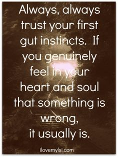 Always, always, trust your first gut instincts.  If you genuinely feel in your heart and soul that something is wrong, it usually is. Trust Your Instincts, Trust Your Gut, Trust Yourself, Listen To Your Gut, Good Quotes, Funny Quotes, Quotes To Live By, Motivational Quotes, Me Quotes